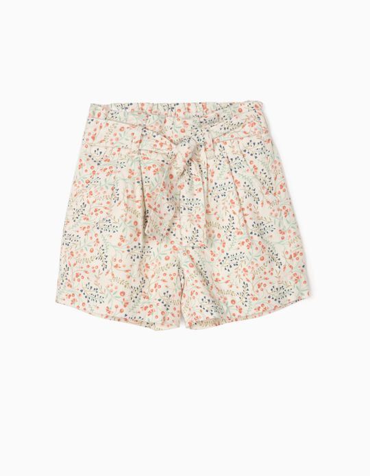 Floral Corduroy Shorts for Girls, White