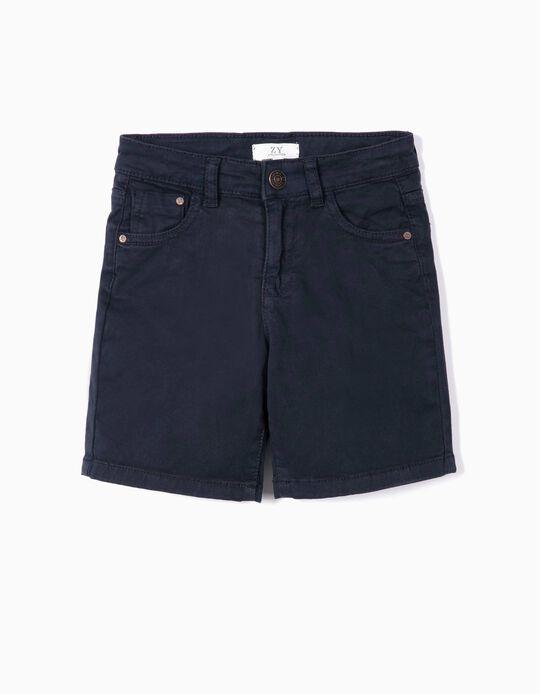 Twill Shorts for Boys, Dark Blue