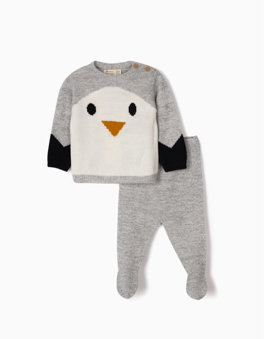 Knit Jumper and Trousers for Newborn Boys 'Cute Penguin', Grey
