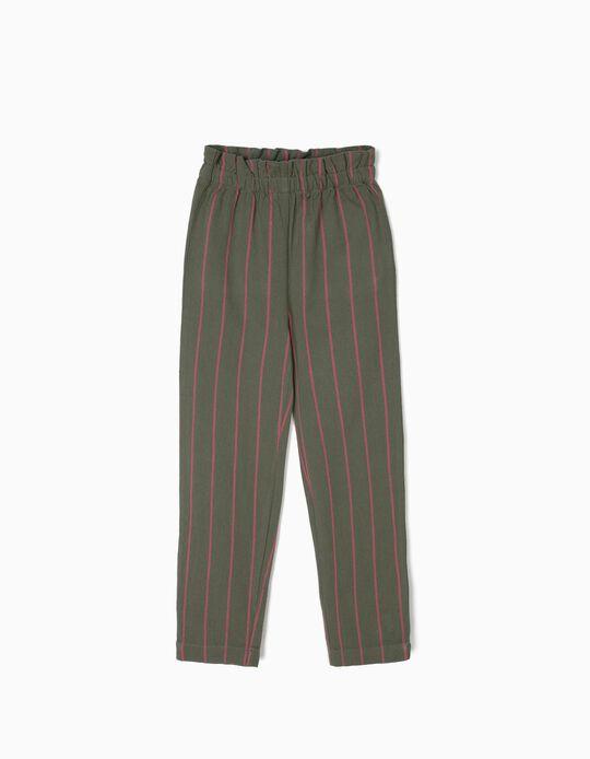 Calças Culottes para Menina Riscas, Verde