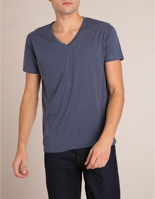 T-Shirt Decote Em V Azul