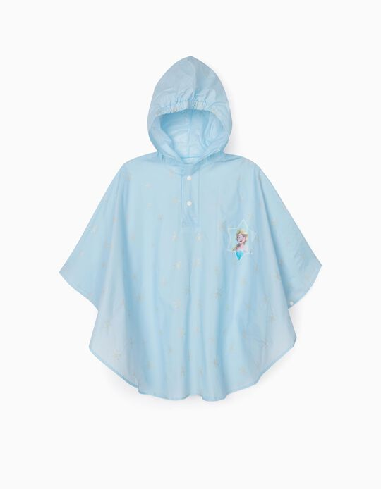 Poncho Rain Cape for Girls 'Frozen', Light Blue
