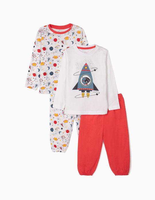 2 Pijamas Manga Comprida para Bebé Menino 'Catronaut', Branco/Vermelho