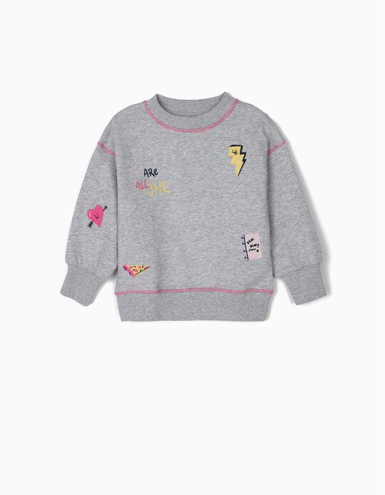 Sweatshirt para Menina com Bordados, Cinza