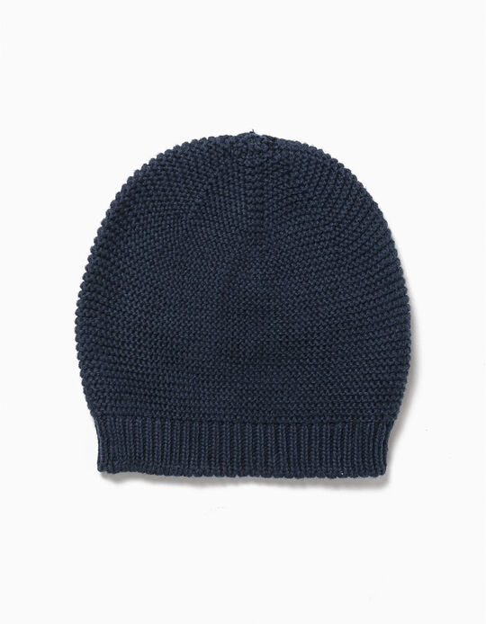 Knit Beanie for Newborn, Dark Blue