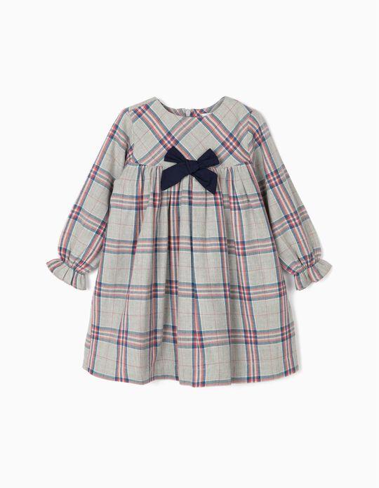 Check Dress for Baby Girls, Grey