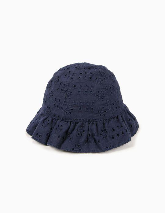Chapéu para Bebé Menina com Bordado Inglês, Azul Escuro
