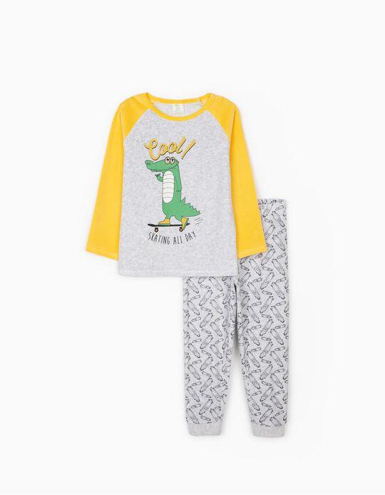 Pijama Veludo para Menino 'Cool', Cinza/Amarelo