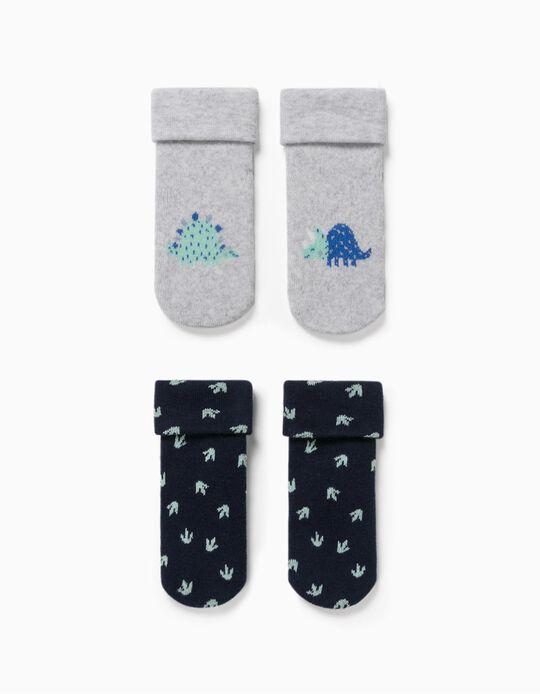 2 Pairs of Non-Slip Socks for Baby Boys, 'Dino', Grey/Blue