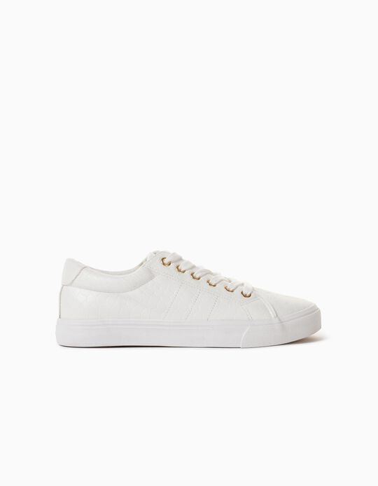 Snake-effect Leather Trainers, Women