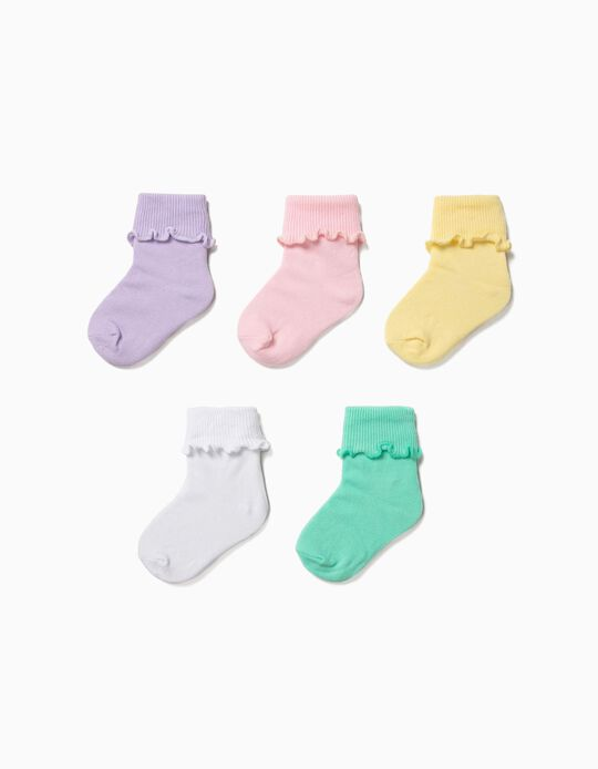 5 Plain Socks for Baby Girls with Turn-down, Multicolour