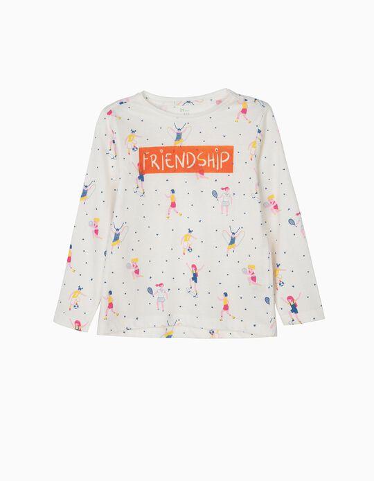 T-shirt Manga Comprida para Menina 'Friendship', Branco