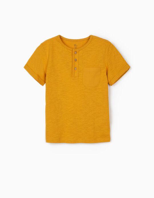T-shirt com Botões para Menino, Amarelo Escuro