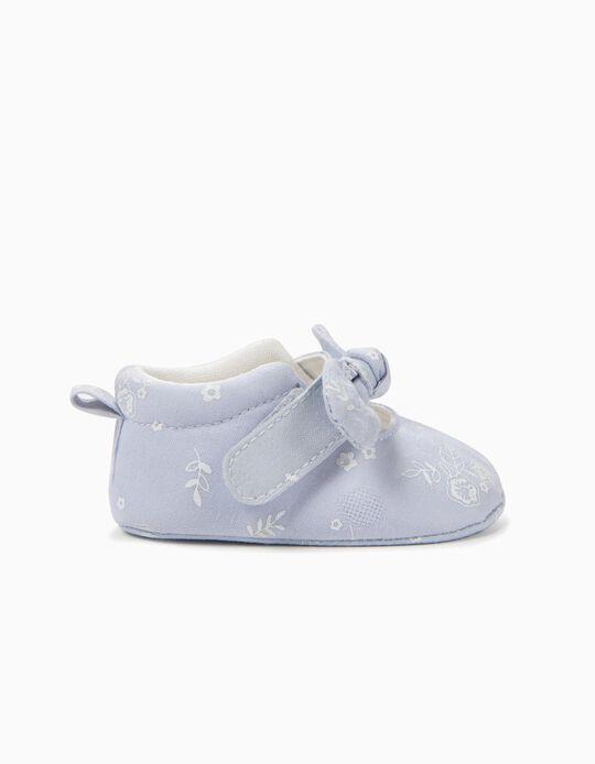 Sapatos para Recém-Nascida Flores e Laço, Azul