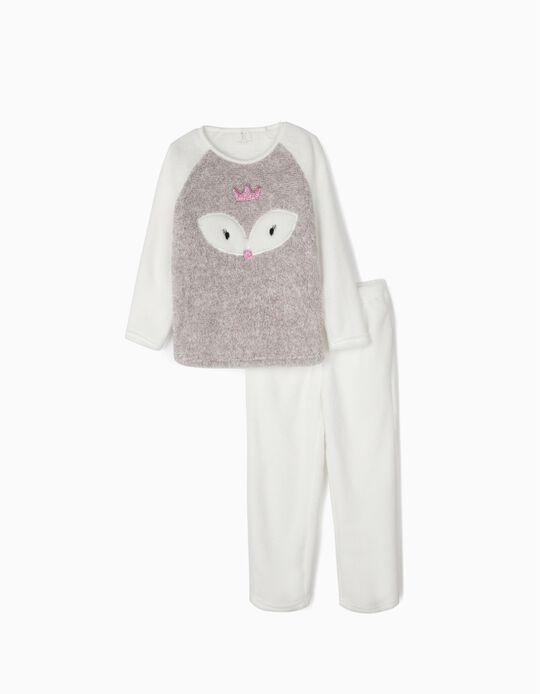 Coral Fleece Pyjamas for Girls 'Queen', Grey/White