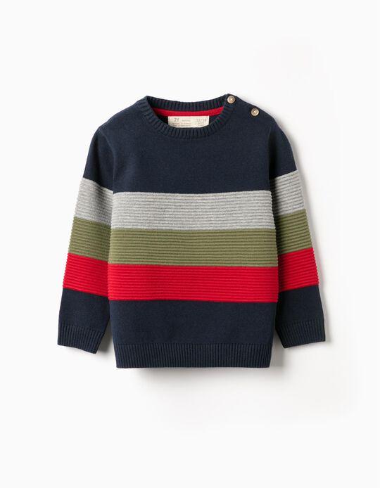 Knit Jumper for Boys 'Stripes', Dark Blue