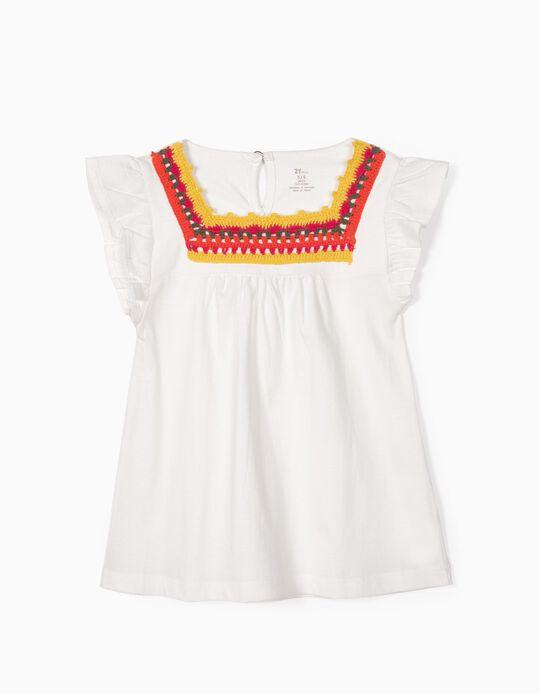 T-shirt para Menina com Croché, Branco