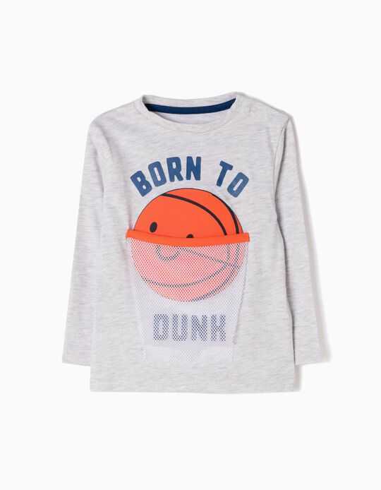 Long-Sleeved T-Shirt with Print, Born To Dunk