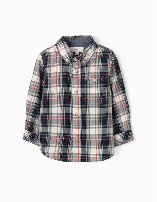 Camisa Xadrez para Bebé Menino, Azul/Coral