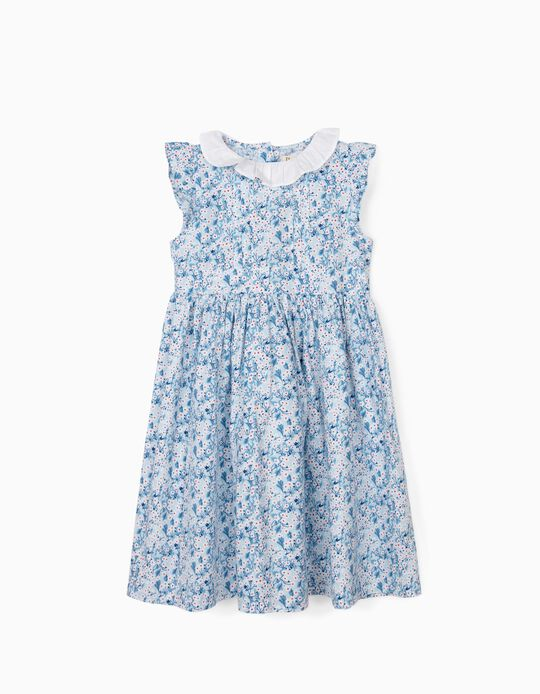 Floral Dress for Girls, Blue