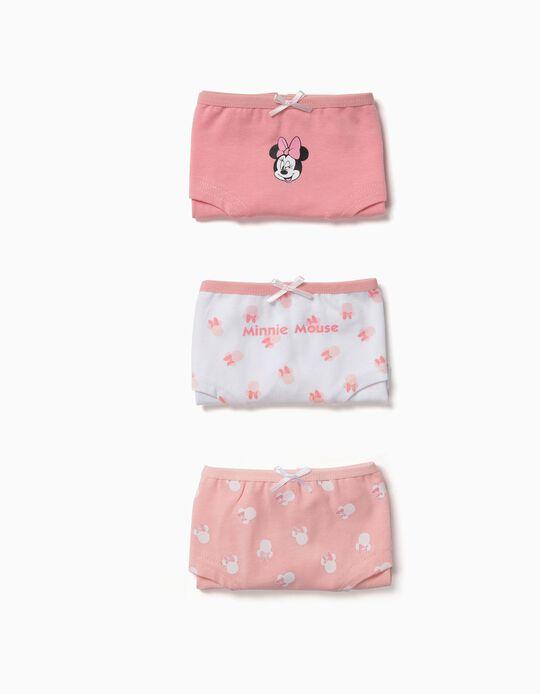 Pack 3 Cuecas para Menina 'Minnie', Rosa e Branco