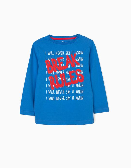 Long-sleeve Top for Boys 'Break Rules', Blue