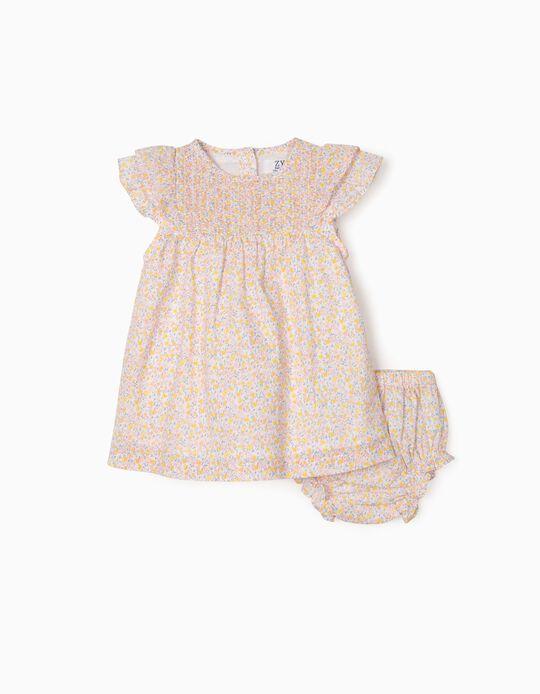 Vestido e Tapa-Fraldas Flores para Recém-Nascida, Multicolor