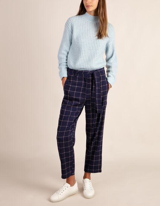Chequered loose-fitting trousers