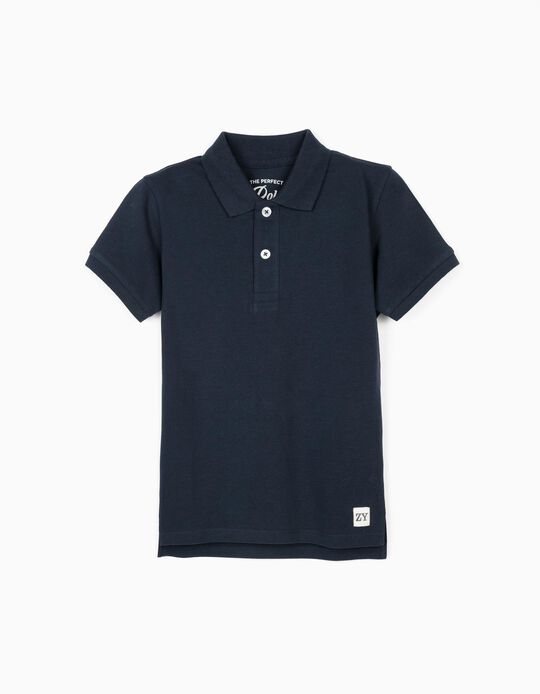 Short Sleeve Polo Shirt for Boys, Dark Blue