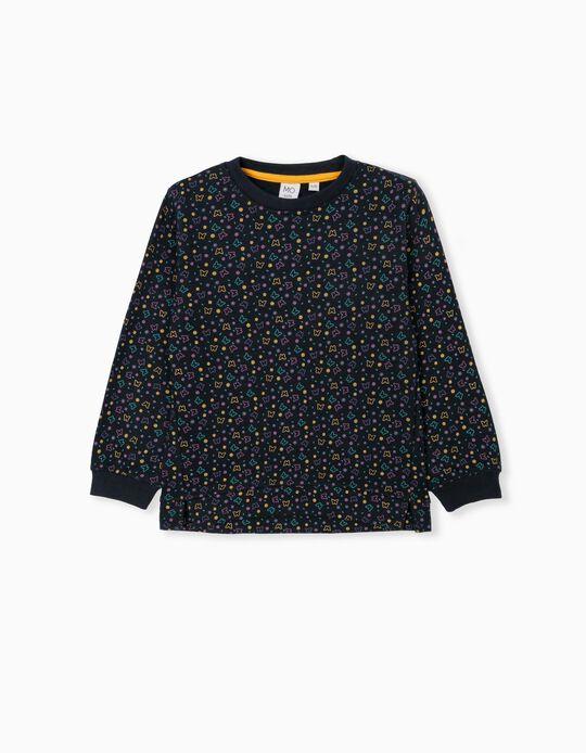Colourful Butterflies Sweatshirt, Girls, Dark Blue