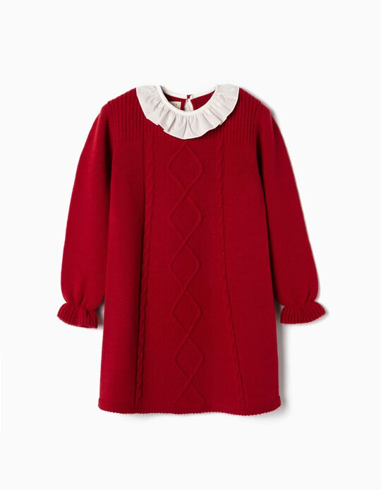 Knit Dress for Baby Girls, Red