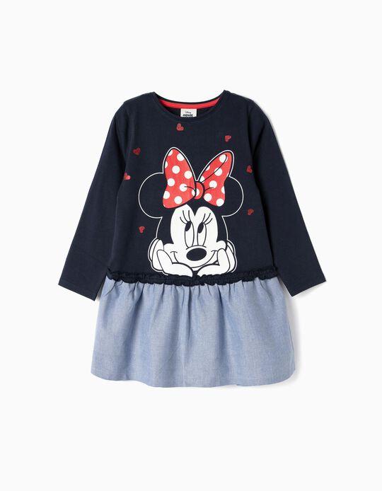Vestido Combinado para Menina 'Minnie', Azul