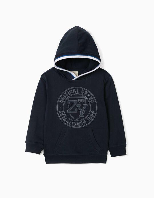 Hooded Sweatshirt for Boys, 'ZY 96', Dark Blue