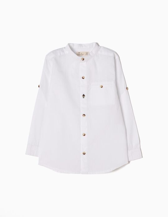 Shirt with Mandarin Collar, White