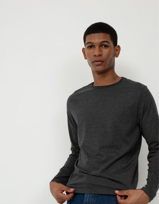 Long Sleeve Basic Top, Men, Grey