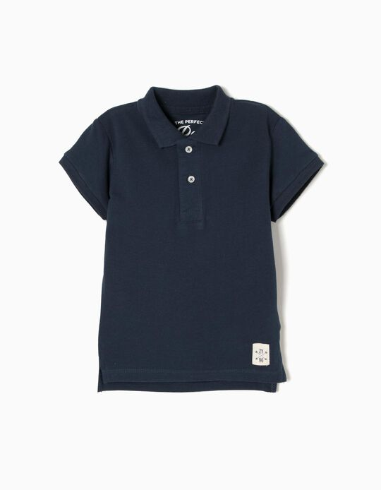 Short-Sleeved Polo Shirt for Baby Boys, Dark Blue