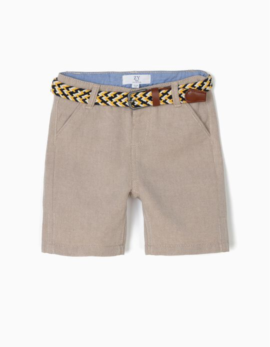 Chino Shorts with Belt for Baby Boys, Beige