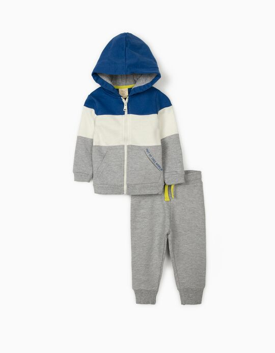 Fato de Treino para Bebé Menino, Cinza/Azul/Branco