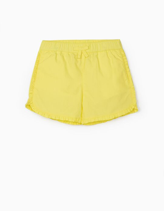Ruffled Shorts for Girls, Yellow