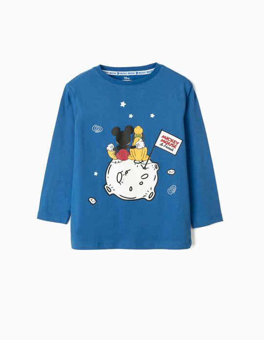 T-shirt Manga Comprida para Menino 'Mickey & Friends', Azul