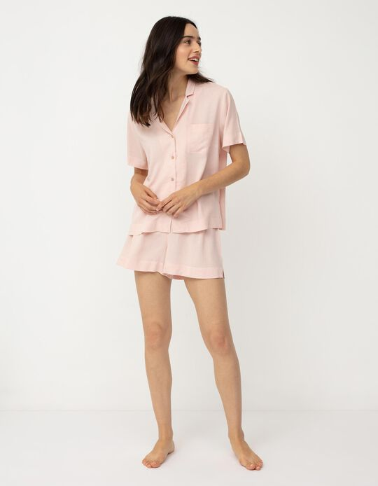 Pijama com Linho, Mulher, Rosa