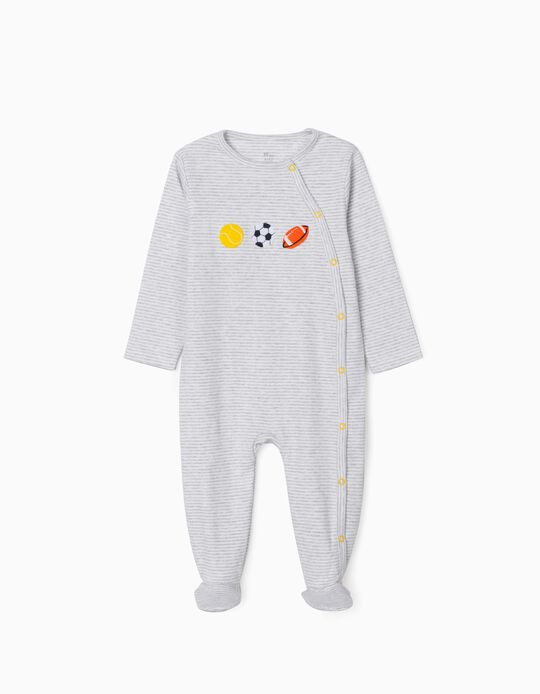 Striped Sleepsuit for Baby Boys, 'Sports', Grey/White