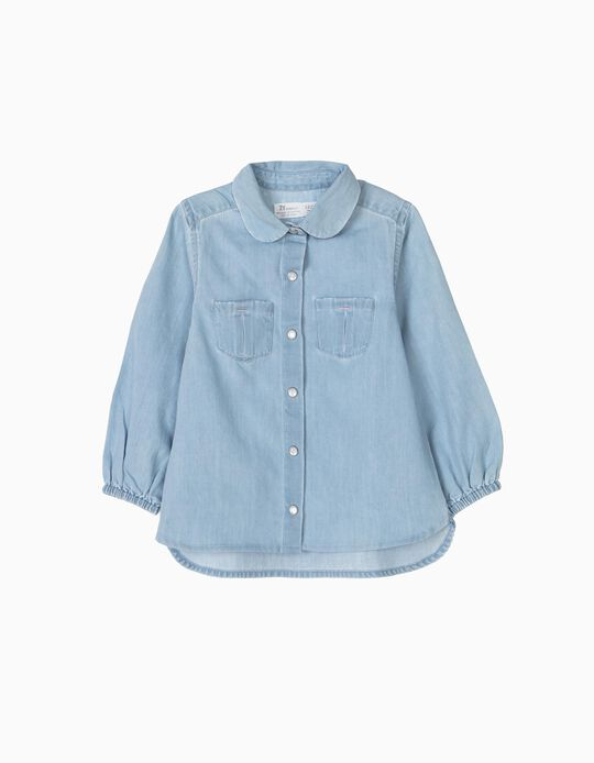 Denim Shirt for Baby Girls, Light Blue