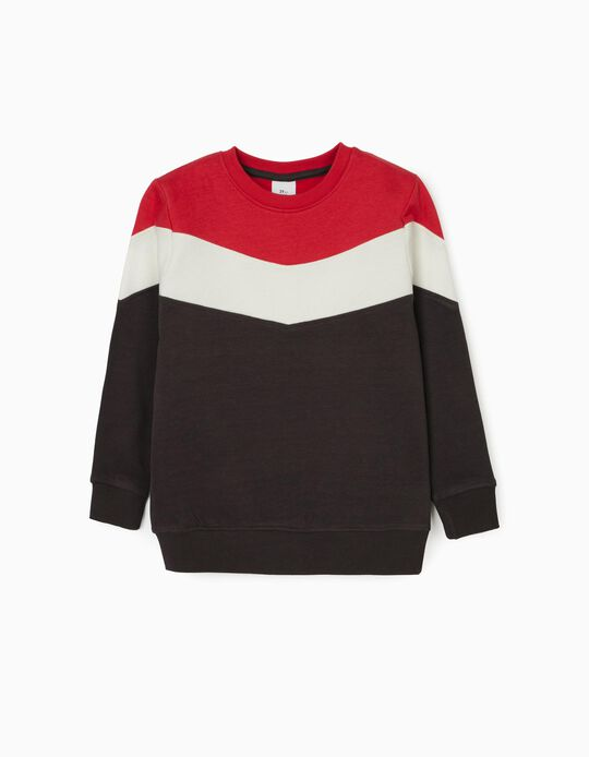 Sweatshirt for Boys, Grey/Red/White