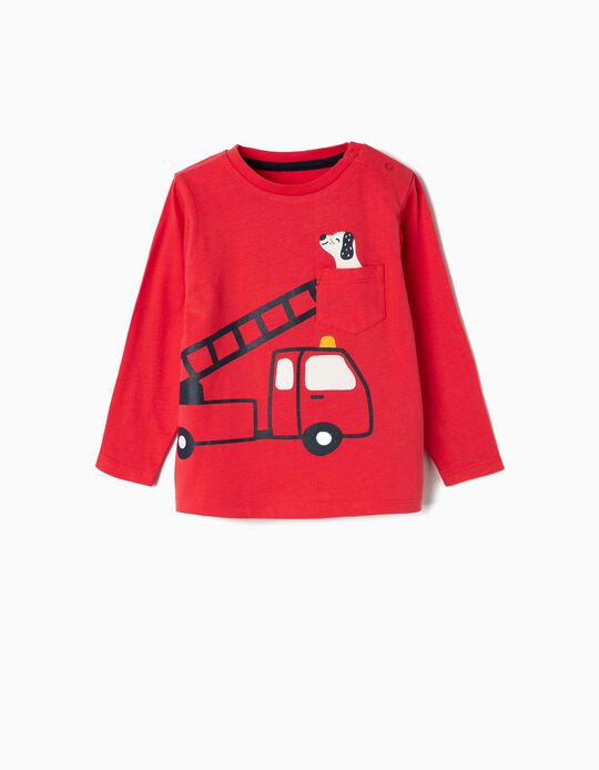 Long-sleeve Top for Baby Boys 'Firetruck', Red