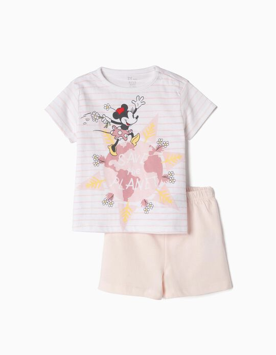 Organic Cotton Pyjamas for Baby 'Minnie Earth Day', Pink and White