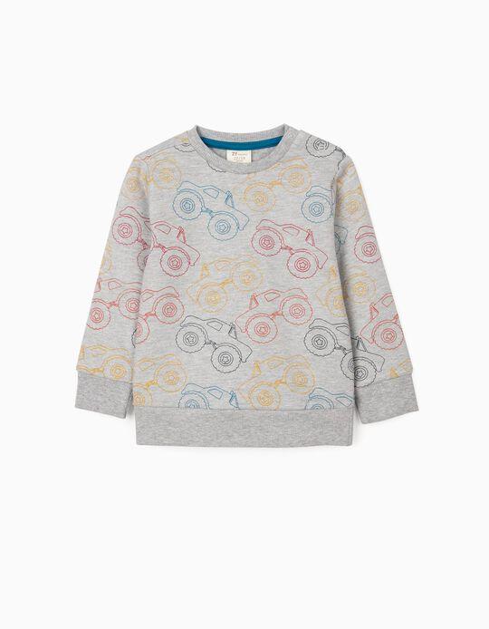 Sweatshirt for Baby Boys 'Trucks', Grey