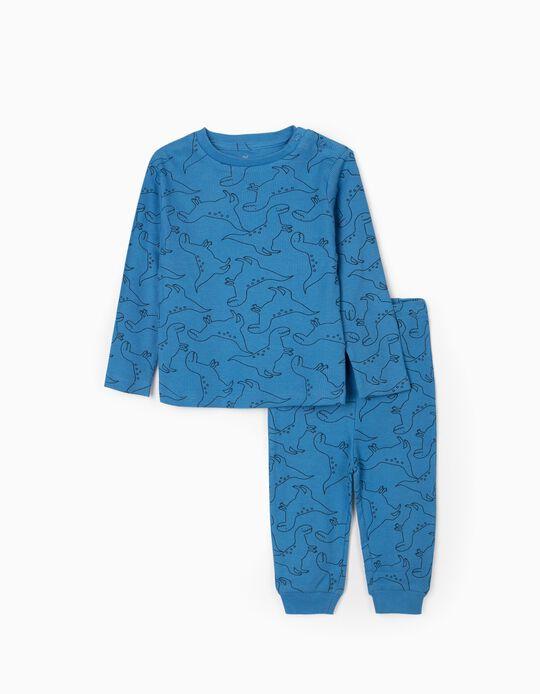 Rib Knit Pyjamas for Baby Boys 'Dinosaurs', Bleu