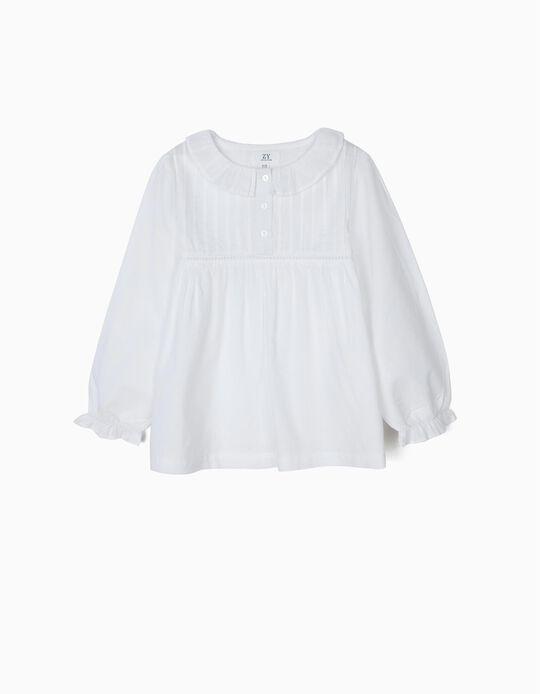 Blusa para Menina com Folhos e Pregas, Branco
