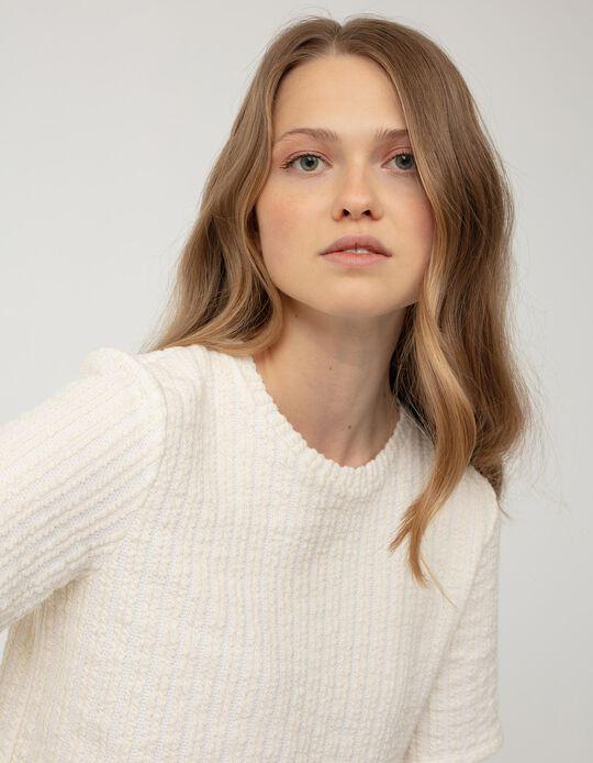 Rib Knit T-shirtfor Women, Beige